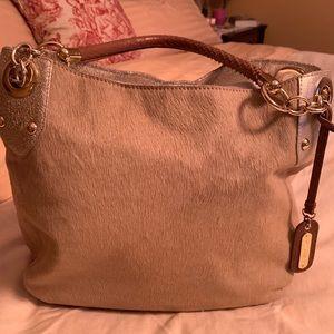 Cynthia Rowley beige pony hair handbag